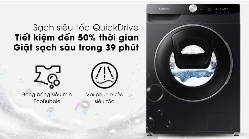 Máy giặt Samsung AI AddWash Inverter 12kg WW12TP94DSB/SV - Giặt siêu tốc QuickDrive