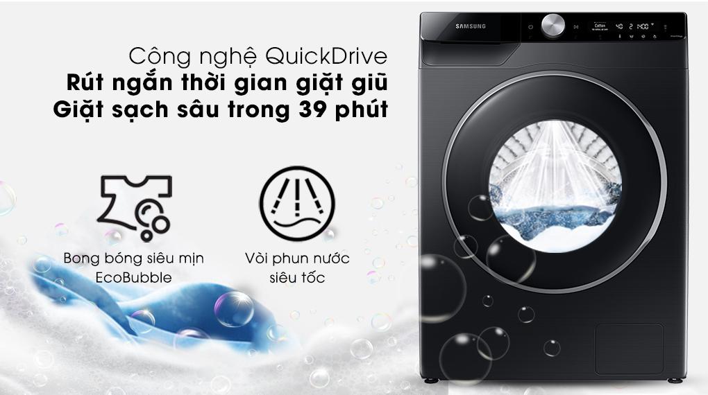 Máy giặt Samsung Inverter 10kg WW10TP44DSB/SV-Làm sạch sâu, rút ngắn thời gian giặt giũ nhờ công nghệ QuickDrive