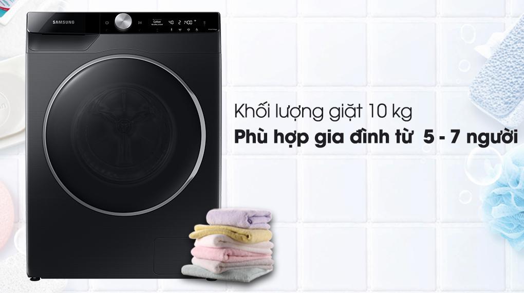 Máy giặt Samsung Inverter 10kg WW10TP44DSB/SV-Khối lượng giặt 10kg, phù hợp gia đình 5 - 7 người