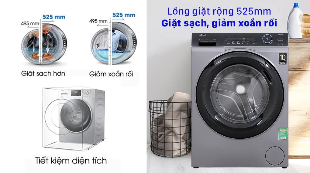 Máy giặt Aqua Inverter 9.0 KG AQD-A900F S - Lồng giặt rộng 525mm giặt sạch, giảm xoắn rối