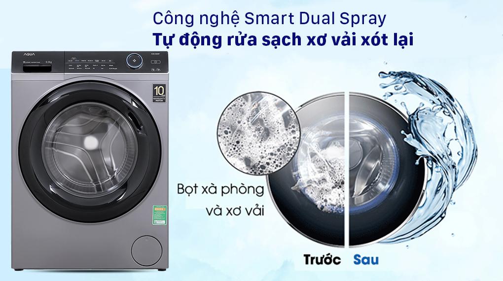 Máy giặt Aqua Inverter 9.0 KG AQD-A900F S - Công nghệ Smart Dual Spray hạn chế sơ vải cho lần giặt sau