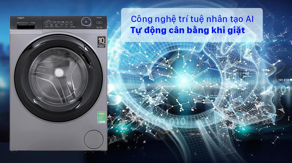 Máy giặt Aqua Inverter 9.0 KG AQD-A900F S - Công nghệ trí tuệ nhân tạo AI tự động cân bằng khi giặt