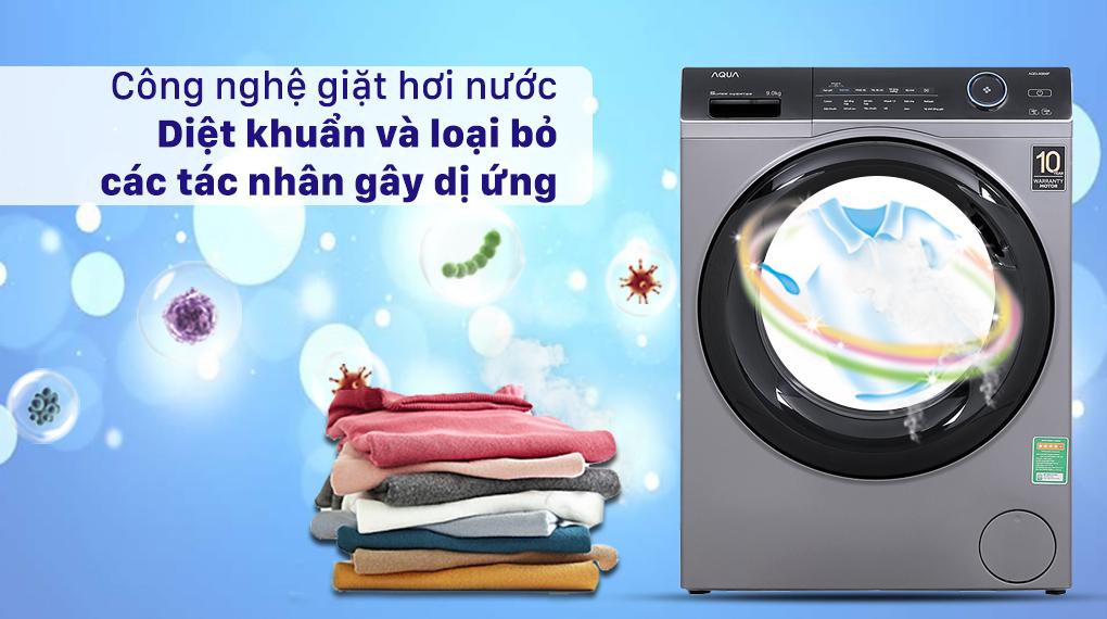 Máy giặt Aqua Inverter 9.0 KG AQD-A900F S - Công nghệ giặt hơi nước diệt khuẩn và loại bỏ các tác nhân gây dị ứng
