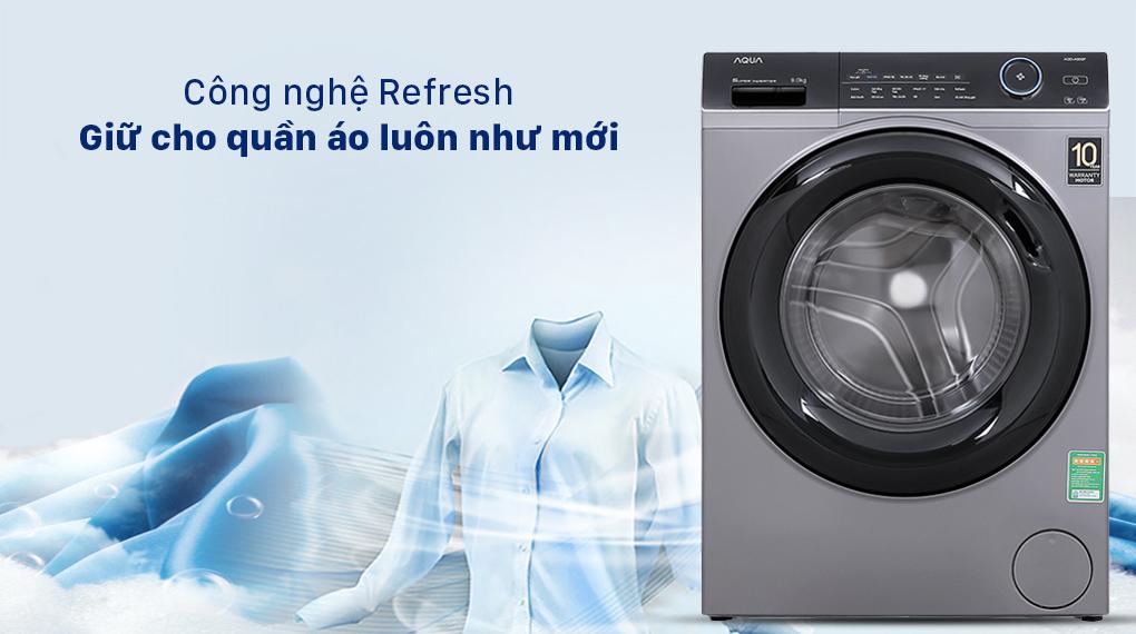 Máy giặt Aqua Inverter 9.0 KG AQD-A900F S - Công nghệ Refresh giữ cho quần áo luôn như mới