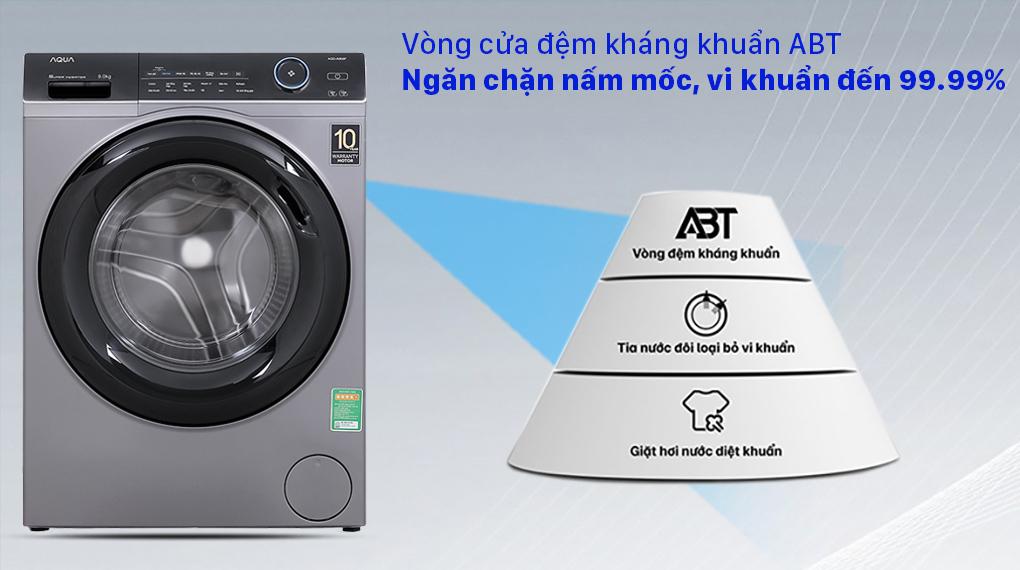 Máy giặt Aqua Inverter 9.0 KG AQD-A900F S - Vòng cửa đệm kháng khuẩn ABT ngăn chặn nấm mốc, vi khuẩn đến 99%