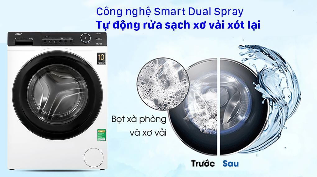 Máy giặt Aqua Inverter 9.0 KG AQD-A900F W - Công nghệ Smart Dual Spray hạn chế sơ vải cho lần giặt sau