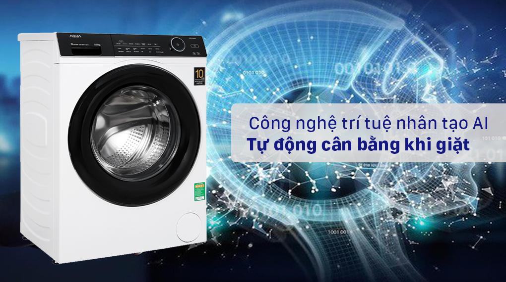 Máy giặt Aqua Inverter 9.0 KG AQD-A900F W - Công nghệ trí tuệ nhân tạo AI tự động cân bằng khi giặt