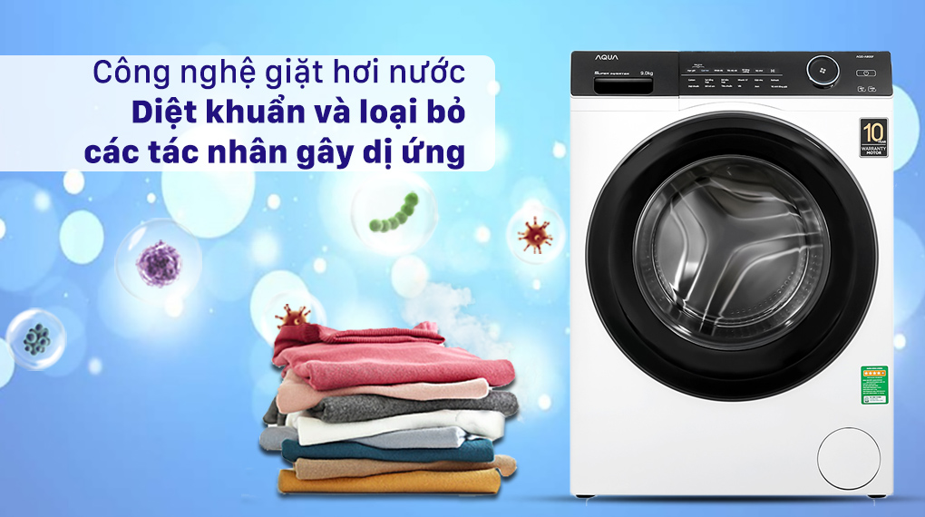 Máy giặt Aqua Inverter 9.0 KG AQD-A900F W - Công nghệ giặt hơi nước diệt khuẩn và loại bỏ các tác nhân gây dị ứng