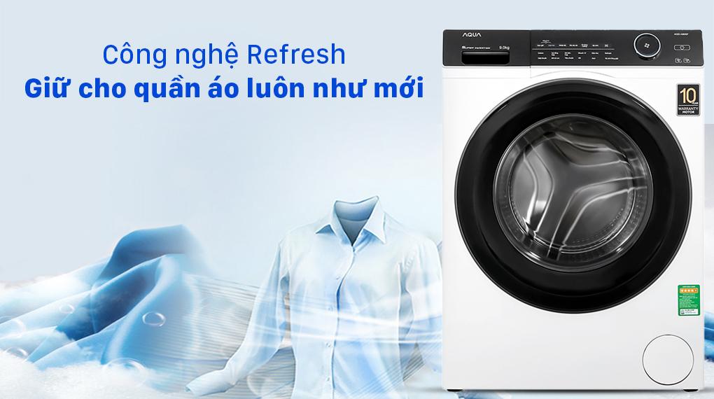 Máy giặt Aqua Inverter 9.0 KG AQD-A900F W - Công nghệ Refresh giữ cho quần áo luôn như mới