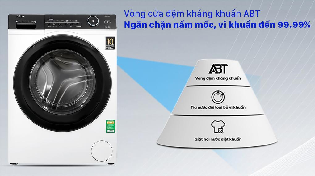Máy giặt Aqua Inverter 9.0 KG AQD-A900F W - Vòng cửa đệm kháng khuẩn ABT ngăn chặn nấm mốc, vi khuẩn đến 99%