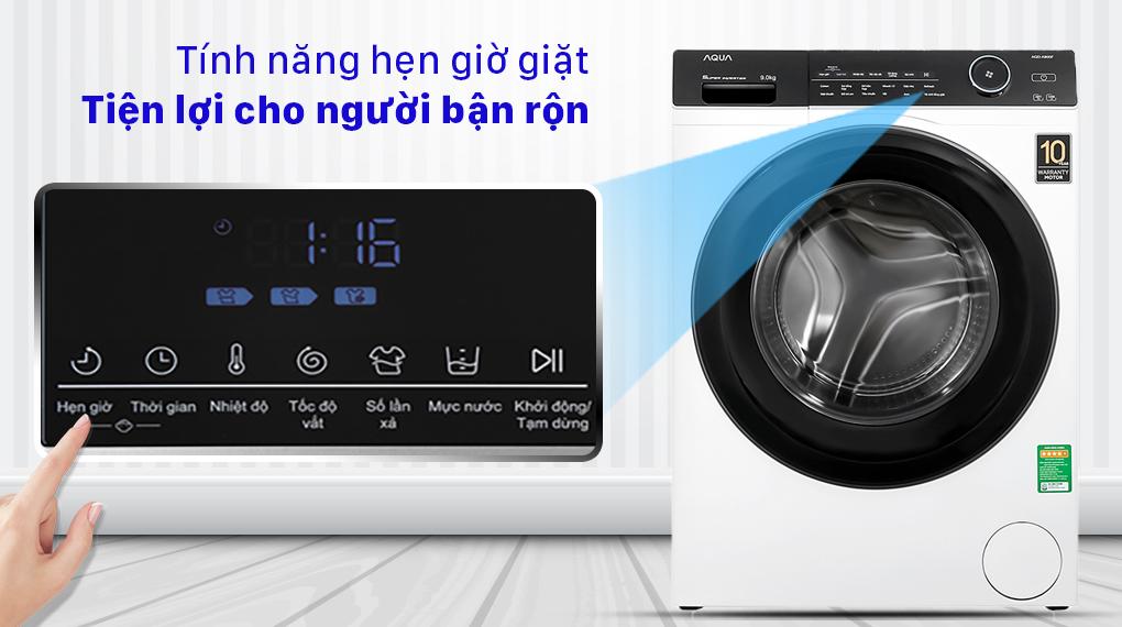 Máy giặt Aqua Inverter 9.0 KG AQD-A900F W - Tính năng hẹn giờ giặt tiện lợi cho người bận rộn