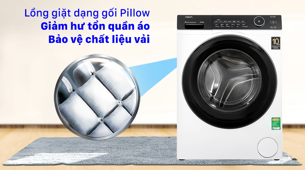 Máy giặt Aqua Inverter 9.0 KG AQD-A900F W - Lồng giặt Pillow bảo vệ quần áo tốt hơn