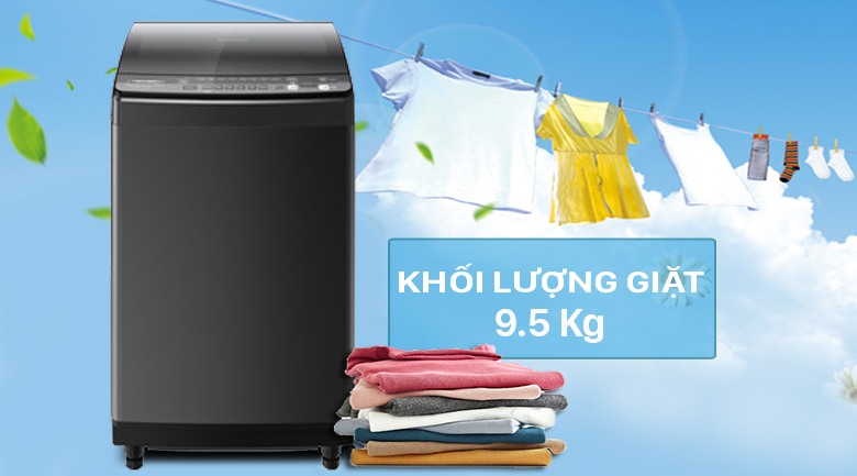 Máy giặt Sharp Inverter 9.5 Kg ES-X95HV-S - Khối lượng giặt 9.5 Kg