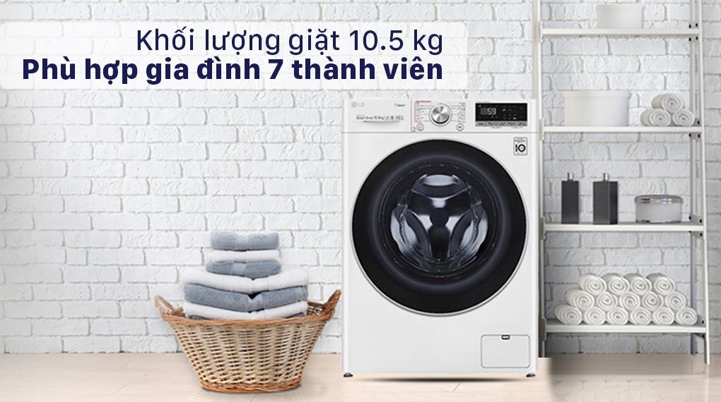 Máy giặt LG Inverter 10.5 kg FV1450S3W2 - khôi lượng 10.5 kg