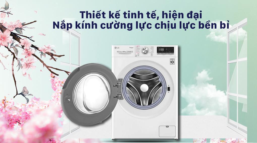 máy giặt LG Inverter 10.5 kg FV1450S3W2 - kính cường lực