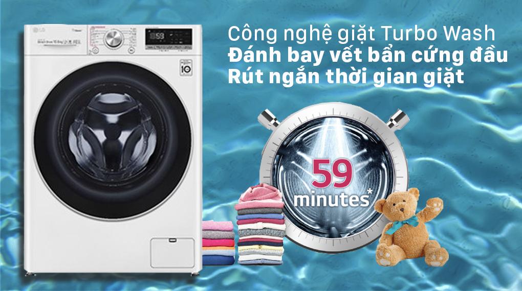 Máy giặt LG Inverter 10.5 kg FV1450S3W2 - Công nghệ giặt Turbo