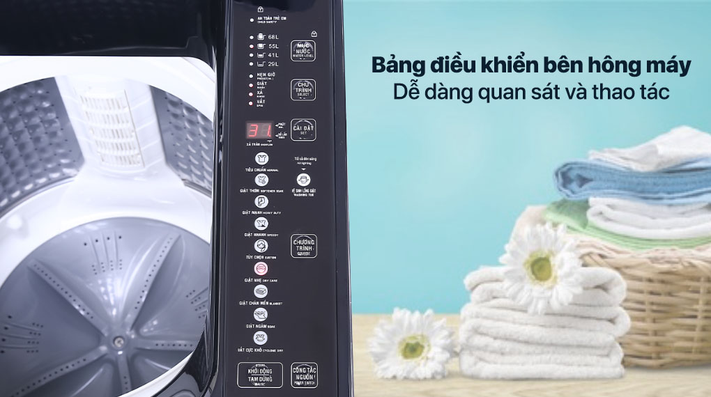 Máy giặt Aqua 10 KG AQW-F100GT.BK - Bảng điều khiển phía sau