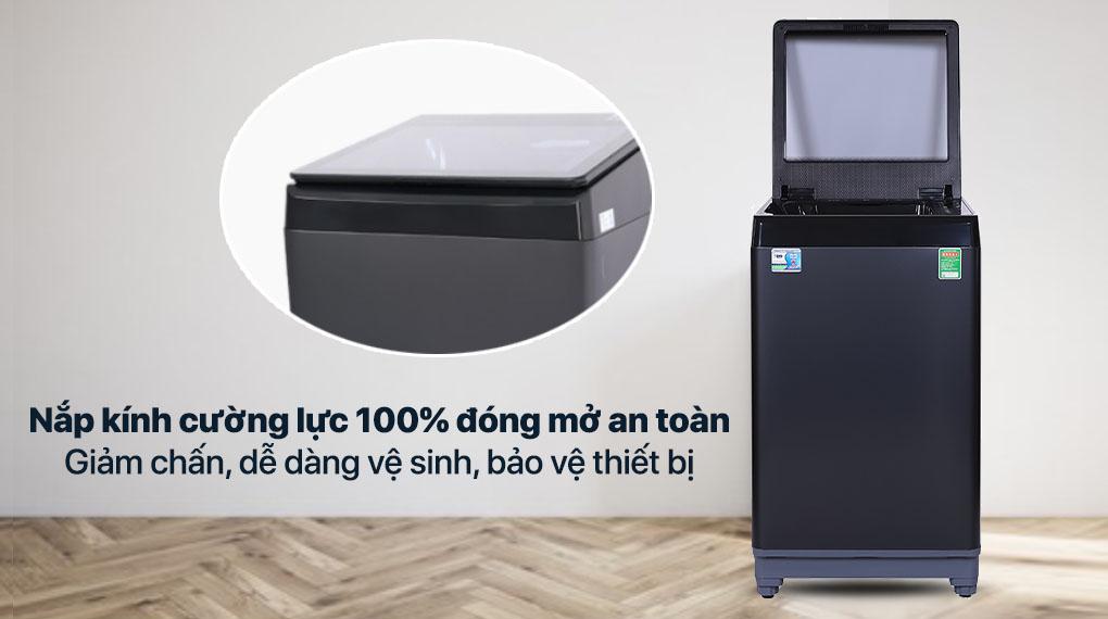 Máy giặt Aqua 10 KG AQW-F100GT.BK - Nắp kính cường lực có giảm chấn