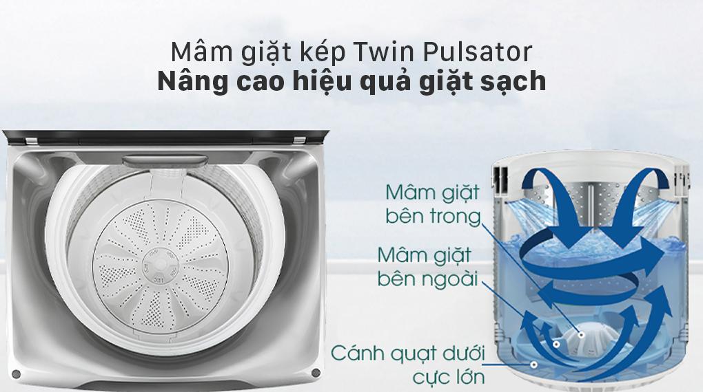 Máy giặt Aqua 12 kg AQW-FW120GT.BK - Mâm giặ kép Twin Pulsator
