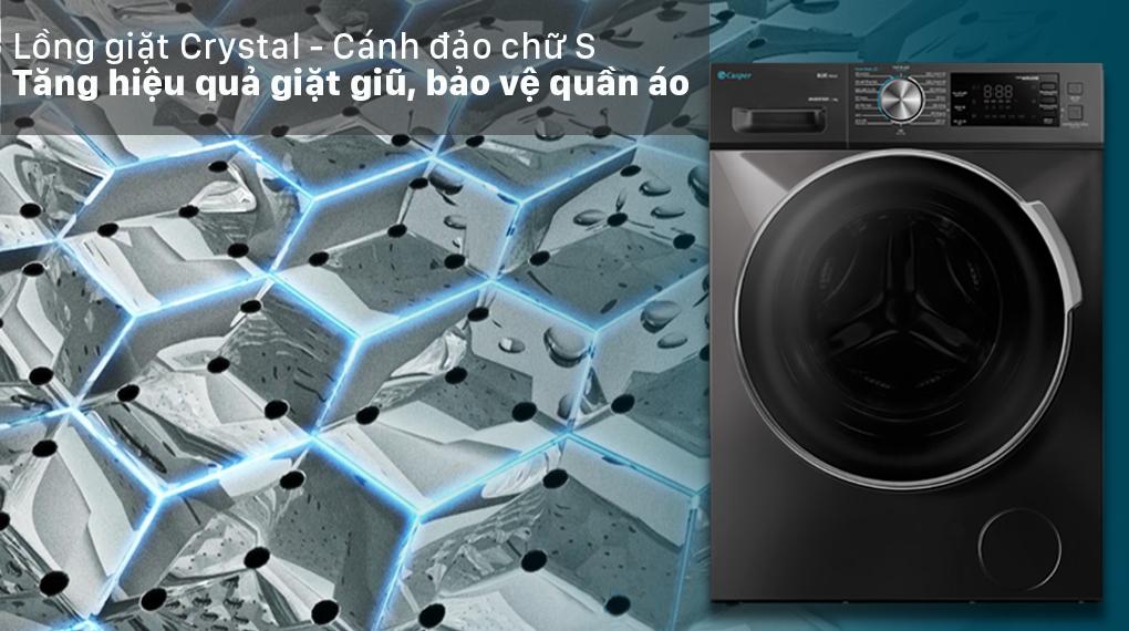 Máy giặt Casper Inverter 12.5 kg WF-125I140BGB - Cánh đảo chữ S và Lồng giặt Crystal