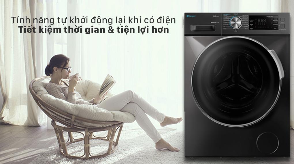Máy giặt Casper Inverter 12.5 kg WF-125I140BGB - Tự khởi động lại khi mất điện
