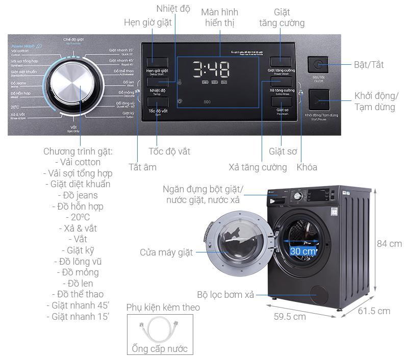Máy giặt Casper Inverter 8.5 kg WF-85I140BGB