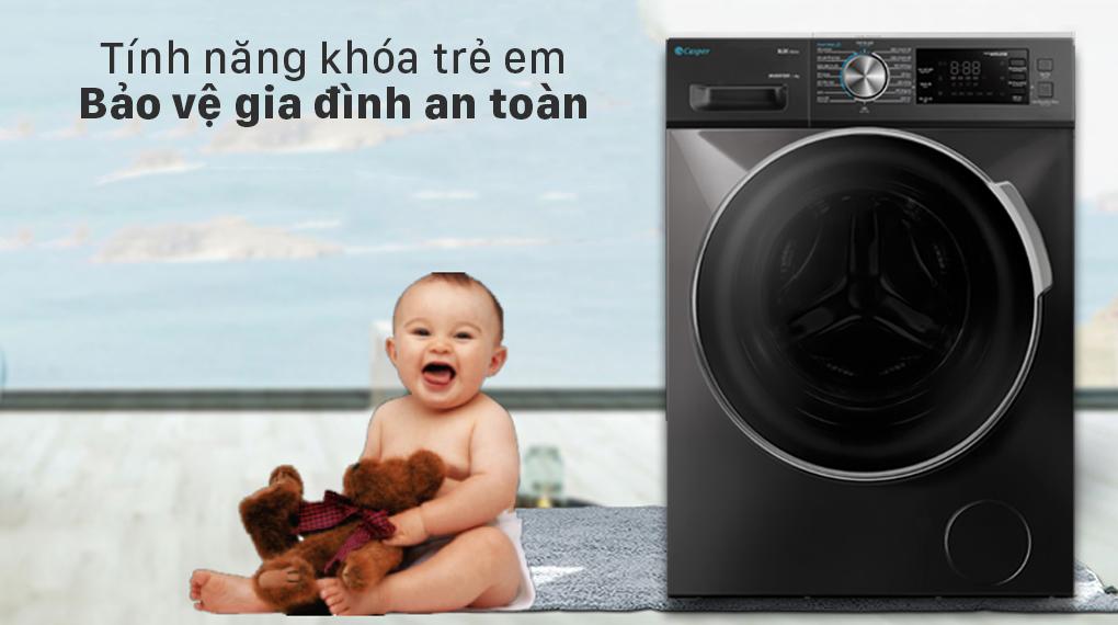 Máy giặt Casper Inverter 8.5 kg WF-85I140BGB -Khóa trẻ em