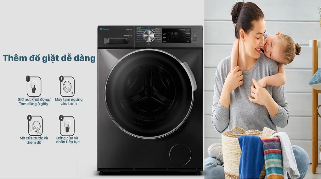 Máy giặt Casper Inverter 8.5 kg WF-85I140BGB - Them do