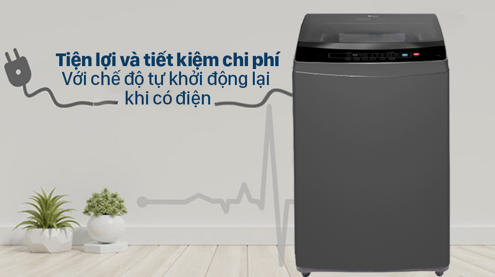 Máy giặt Casper Inverter 9.5 kg WT-95I68DGA - Tiện lợi và tiết kiệm chi phí với chế độ thông minh tự khởi động lại khi có điện