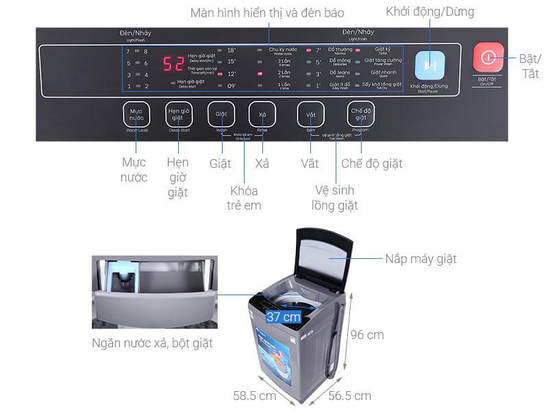 Máy giặt Casper 9.5 kg WT-95N68BGA