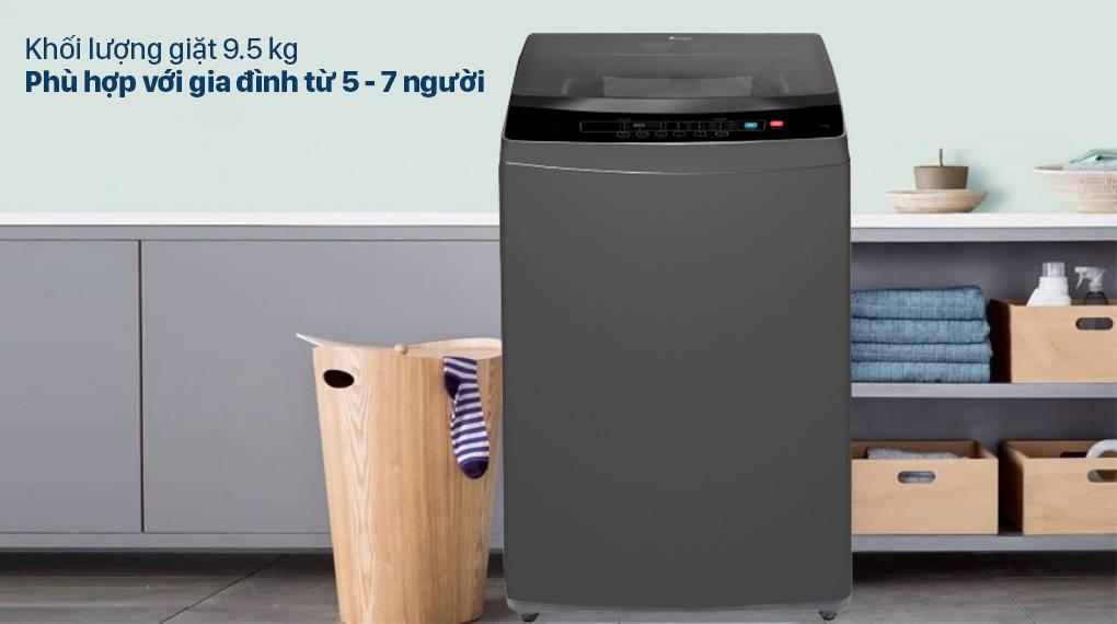 Máy giặt Casper 9.5 kg WT-95N68BGA - Khối lượng giặt 9.5 kg, phù hợp với các gia đình từ 5 - 7 người