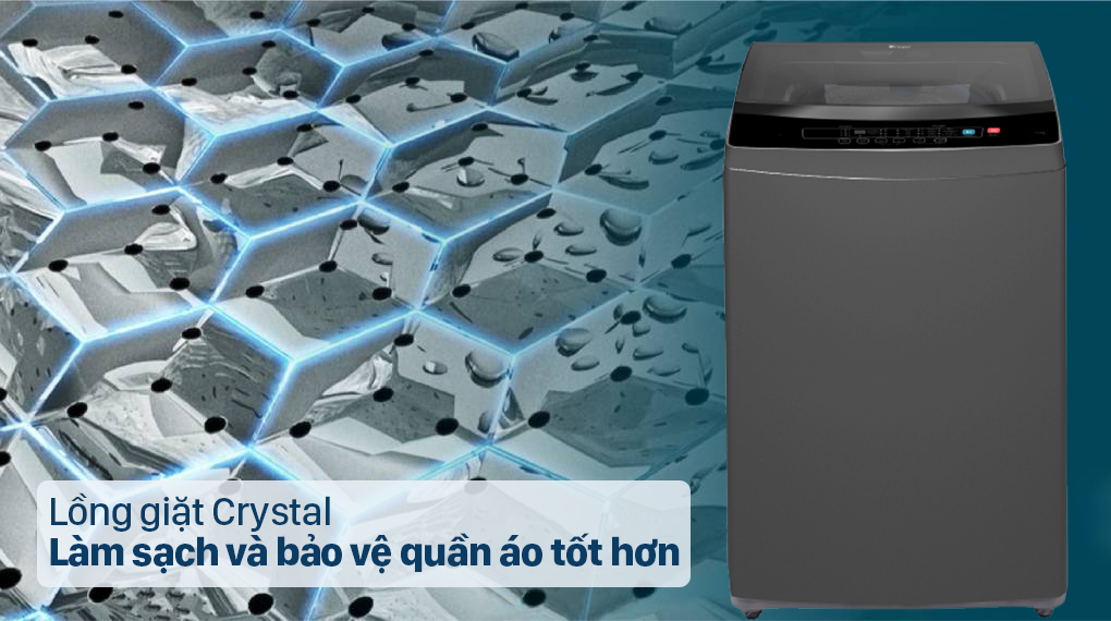 Máy giặt Casper 9.5 kg WT-95N68BGA - Làm sạch và bảo vệ quần áo tốt nhất với lồng giặt Crystal