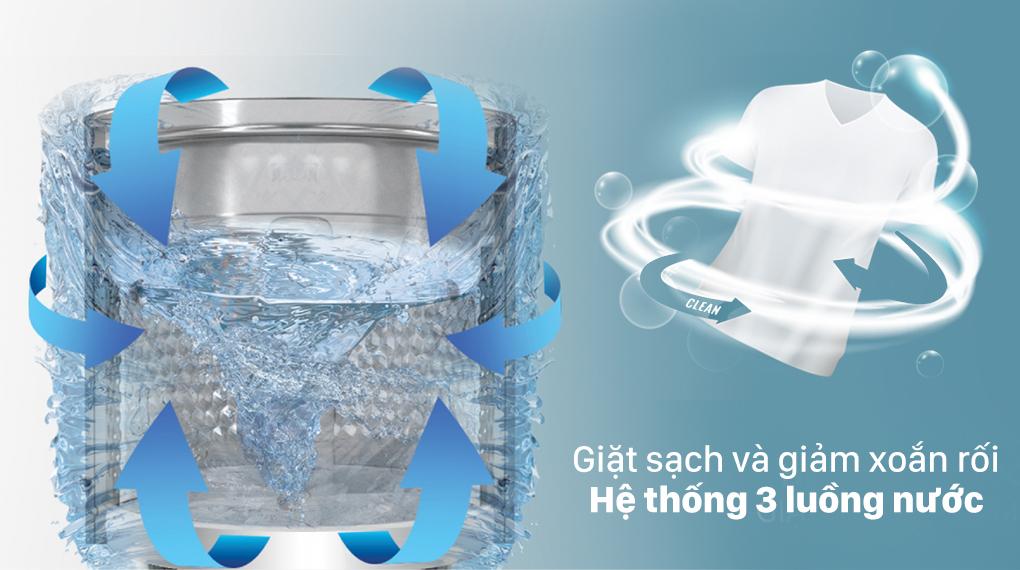 Máy giặt Casper 8.5 kg WT-85N68BGA - Hệ thống 3 luồng nước