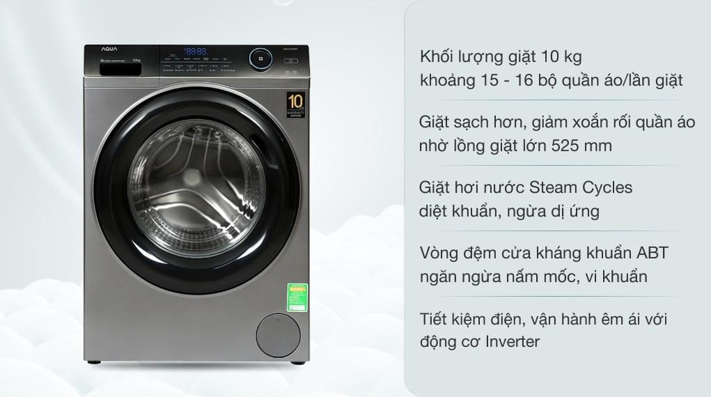 Máy giặt Aqua Inverter 10 KG AQD-A1000G S
