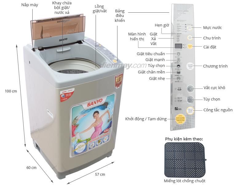 Thông số kỹ thuật Máy giặt Sanyo ASW-U90NT 9kg