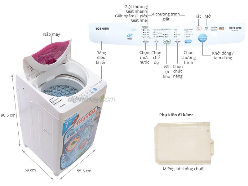 Thông số kỹ thuật Máy giặt Toshiba 7kg AW-A800SV