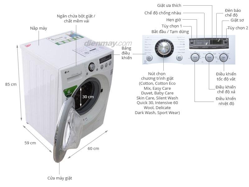 Thông số kỹ thuật Máy giặt LG 8 kg WD-13600
