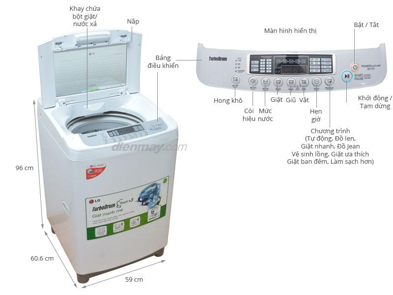 Thông số kỹ thuật Máy giặt LG 10 kg WF-S1015TT