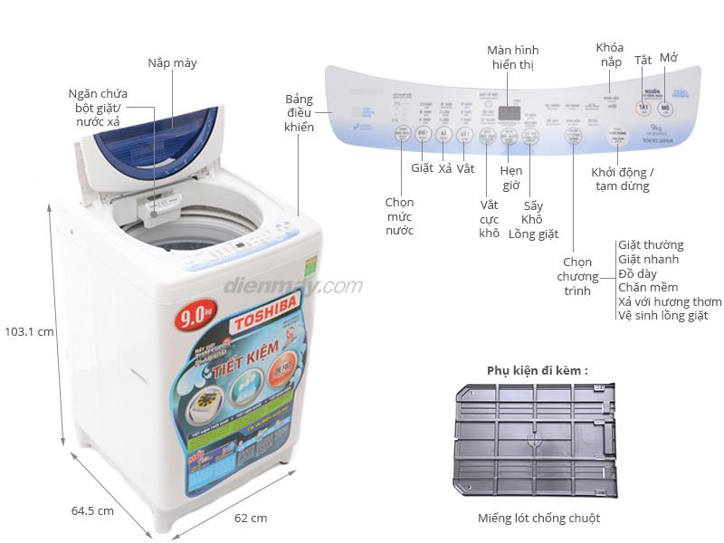 Thông số kỹ thuật Máy giặt Toshiba 9kg AW-B1000GV