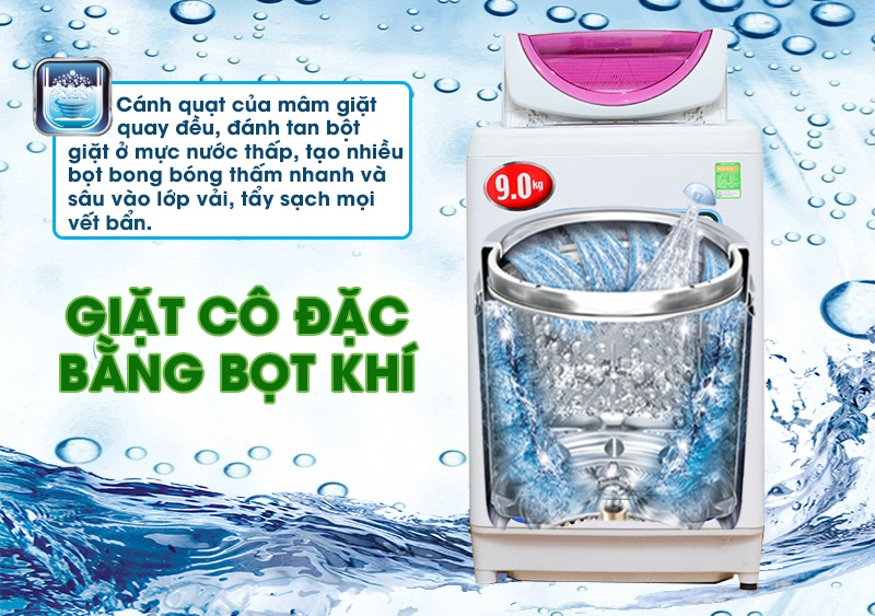 Máy giặt Toshiba AW-B1000GV sở hữu công nghệ giặt cô đặc bằng bọt khí