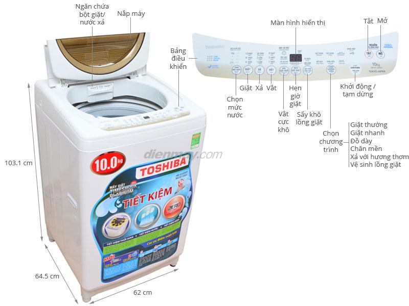 Thông số kỹ thuật Máy giặt Toshiba 10kg AW-B1100GV