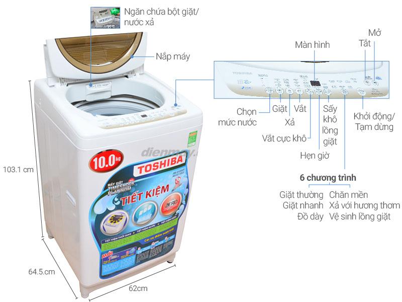 Thông số kỹ thuật Máy giặt Toshiba 10kg AW-B1100GV WD
