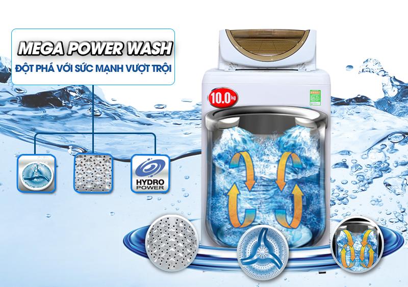Với hiệu ứng thác nước đôi được tạo nên nhờ cánh quạt quay dưới mâm, hai dòng nước liên tục tuần hoàn của máy giặt Toshiba AW-B1100GV sẽ tạo điều kiện cho hiệu quả giặt và xả được tốt hơn