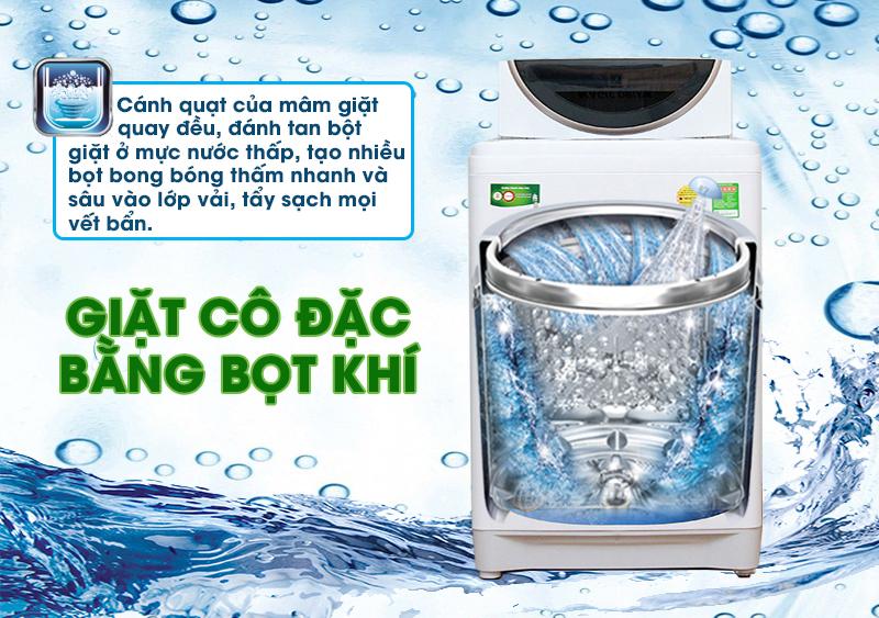 Với công nghệ giặt cô đặc bằng bọt khí, bột giặt sẽ được đánh tan thành những hạt bọt nhỏ hơn