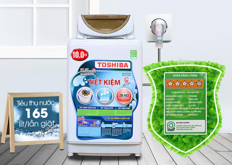 Máy giặt Toshiba AW-B1100GV có thể tránh hao phí điện năng và nước tốt