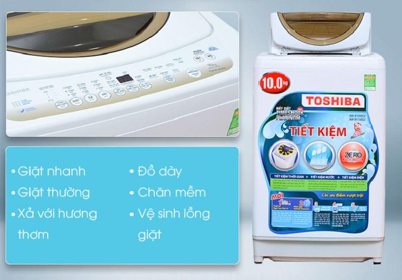 Nhiều chương trình giặt khác nhau đem đến cho máy giặt Toshiba AW-B1100GV khả năng giặt phù hợp với nhiều loại vải hơn