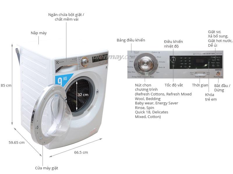 Thông số kỹ thuật Máy giặt Electrolux EWF10932 9kg