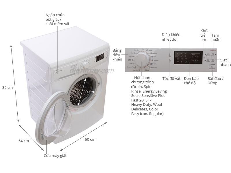Thông số kỹ thuật Máy giặt Electrolux EWP85752 7kg