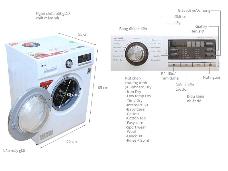 Thông số kỹ thuật Máy giặt sấy LG 7.5 kg WD-18600
