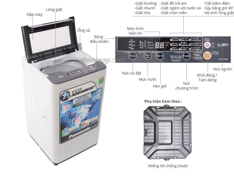 Thông số kỹ thuật Máy giặt Panasonic NA-F70B3HRV 7kg